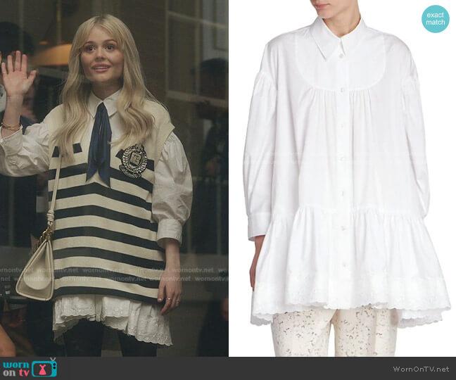 Gathered Peplum Shirt by Simone Rocha worn by Audrey Hope (Emily Alyn Lind) on Gossip Girl