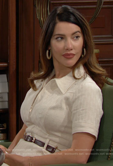 Steffy's beige zip front shirtdress on The Bold and the Beautiful
