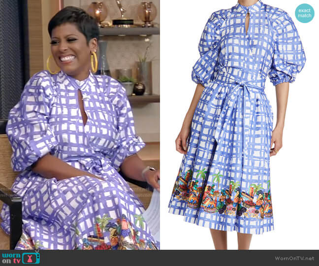 Plaid Dress by Stella Jean worn by Tamron Hall on Live with Kelly and Ryan