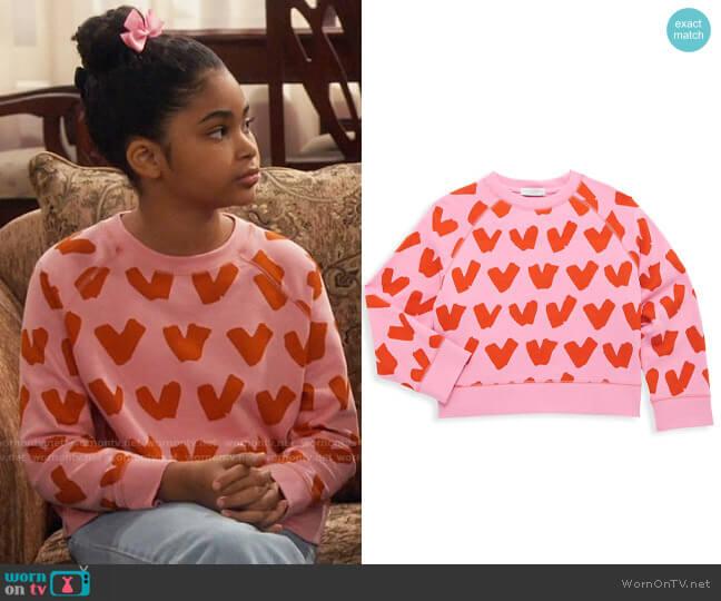 Stella McCartney Heart Print Sweatshirt worn by Millicent (Jaidyn Triplett) on iCarly