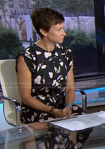Stephanie's black floral jumpsuit on Today
