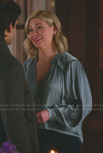 Stephanie's blue pleated tie neck blouse on Good Witch