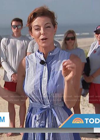 Stephanie Ruhle's blue striped sleeveless dress on Today