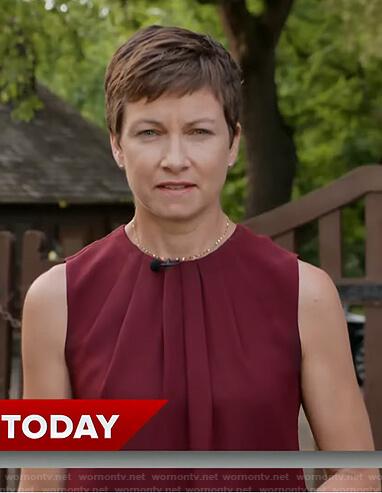 Stephanie's burgundy pleated neck sleeveless top on Today