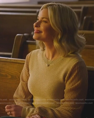 Stephanie's metallic striped sleeve sweater on Good Witch