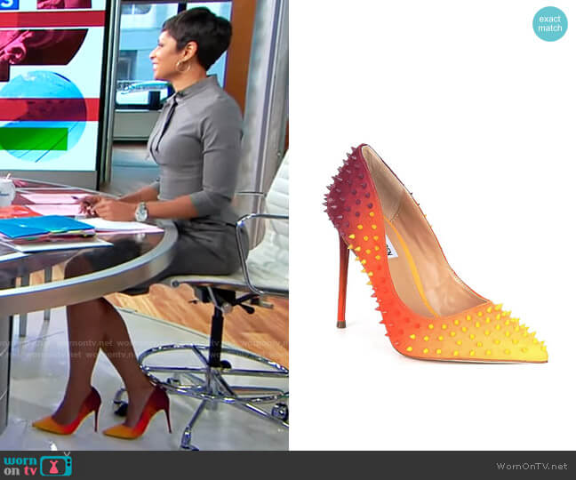 Steve Madden Vala-S Multicolored Studded Pumps worn by Jericka Duncan  on CBS Mornings