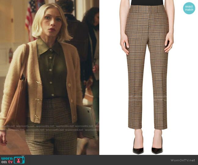 Classic Houndstooth High Waist Wool & Cashmere Trousers by Suistudio worn by Kate Keller (Tavi Gevinson) on Gossip Girl