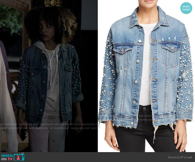 Sunset & Spring Embellished Denim Jacket worn by Rowena (Ashley Martin Carter) on American Horror Stories