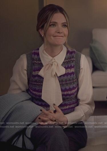 Sutton's purple print knit vest on The Bold Type