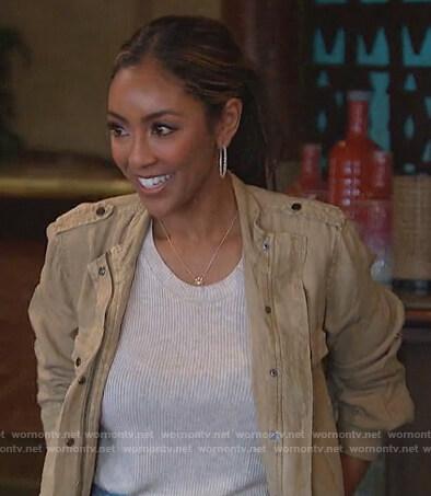 Tayshia's beige button down utility jacket on The Bachelorette