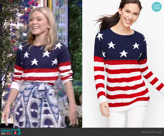 Stars & Stripes Linen Sweater by Talbots worn by Kelly Ripa  on Live with Kelly & Ryan
