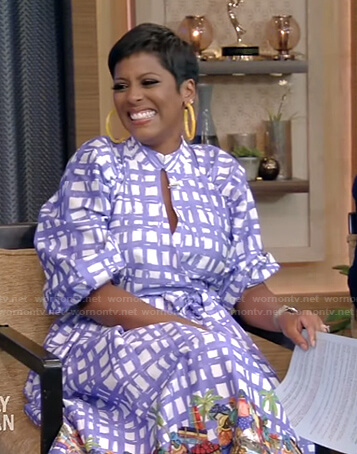 Tamron Hall's blue plaid cutout poplin dress on Live with Kelly and Ryan