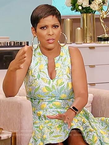 Tamron's lemon print mini dress on Tamron Hall Show