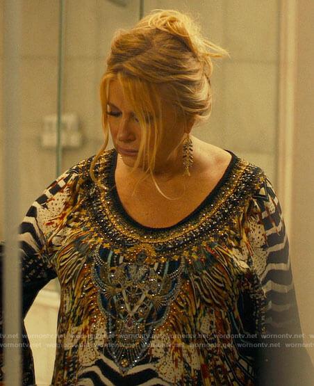 Tanya's embellished animal print dress on The White Lotus