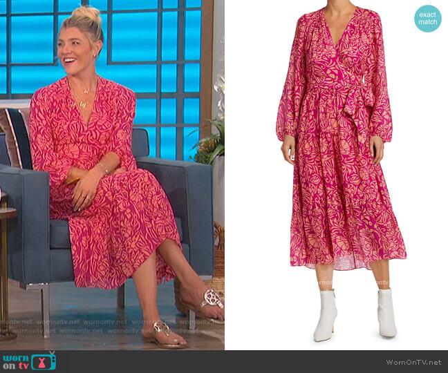 Liza Floral Print Silk Midi Wrap Dress by Tanya Taylor worn by Amanda Kloots  on The Talk
