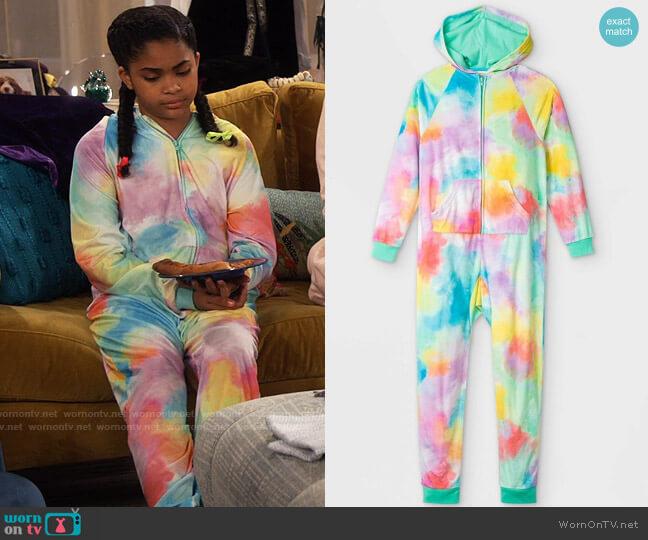 Cat & Jack at Target Hooded Tie Dye Pajama Jumpsuit worn by Millicent (Jaidyn Triplett) on iCarly