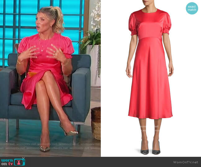 Short Puffed-Sleeve Midi Dress by Ted Baker worn by Amanda Kloots  on The Talk