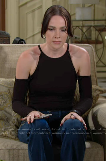 Tessa's black cold-shoulder bodysuit on The Young and the Restless