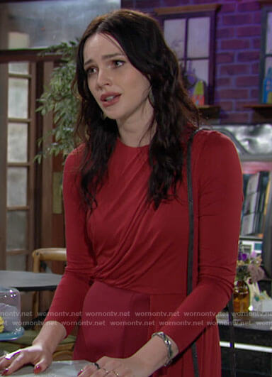 Tessa's red draped jumpsuit on The Young and the Restless