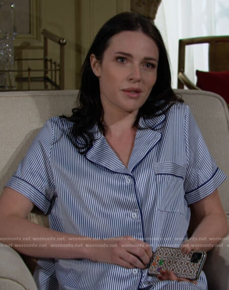 Tessa's striped pajamas on The Young and the Restless