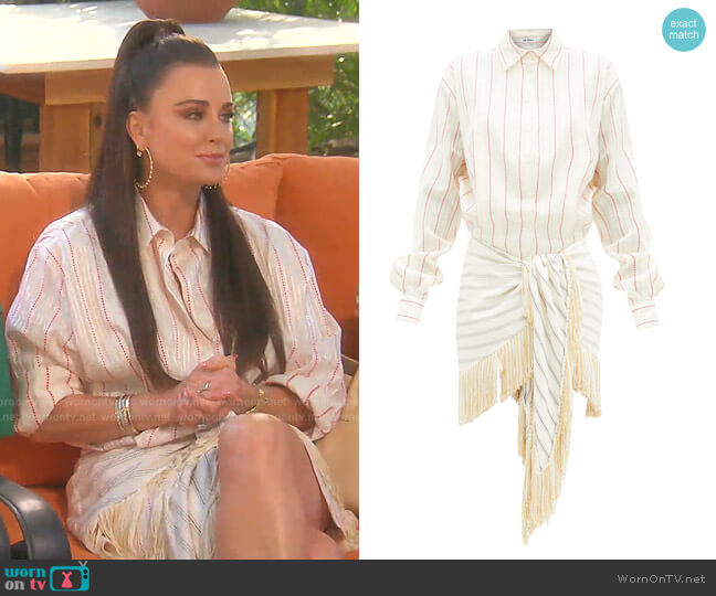Knotted Striped Cotton-Blend Shirt Dress by The Attico worn by Kyle Richards  on The Real Housewives of Beverly Hills