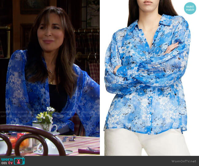 Floral Puff Sleeves Shirt by The Kooples worn by Kate Roberts (Lauren Koslow) on Days of our Lives