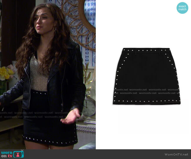 Studded Mini Skirt by The Kooples worn by Ciara Brady (Victoria Konefal) on Days of our Lives