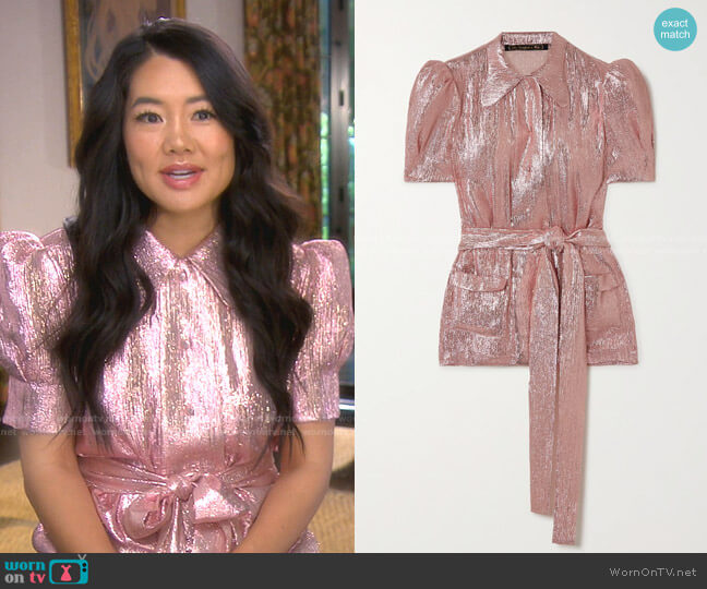 Belted Wool-Blend Lamé Blouse by The Vampire's Wife worn by Crystal Kung Minkoff  on The Real Housewives of Beverly Hills