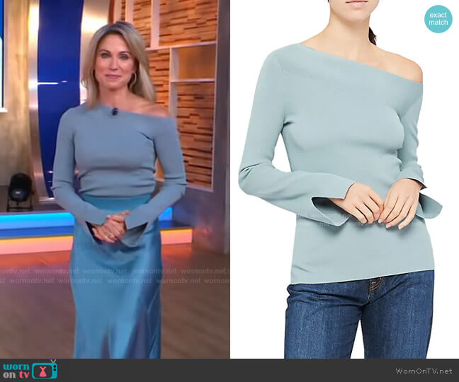 Asymmetric Off-The-Shoulder Top by Theory worn by Amy Robach  on Good Morning America