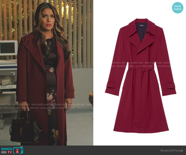 Oaklane Trench Coat by Theory worn by Cristal Jennings (Daniella Alonso) on Dynasty