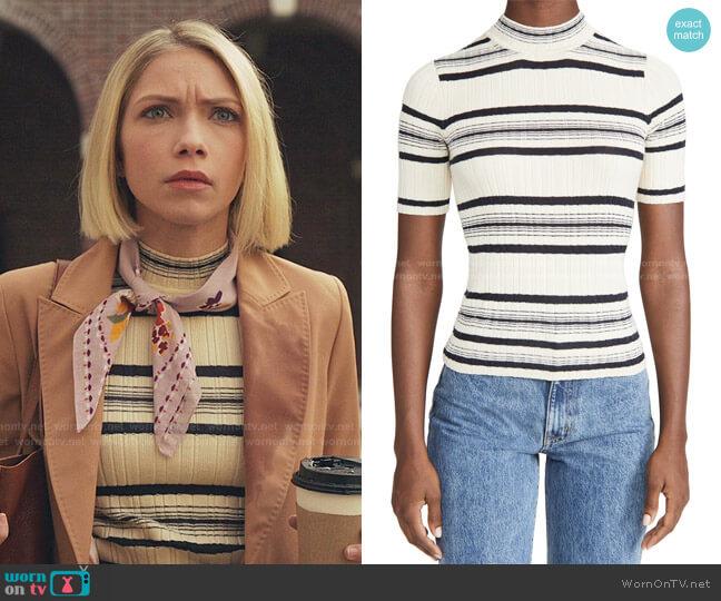Stripe Rib Pullover by Theory worn by Kate Keller (Tavi Gevinson) on Gossip Girl