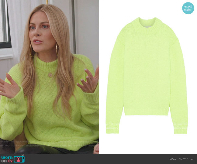 Cozette neon alpaca-blend sweater by Tibi worn by Leah McSweeney  on The Real Housewives of New York City