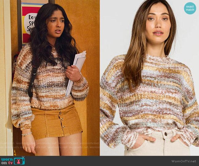Marled Stripe Womens Sweater by Sky and Sparrow worn by Devi Vishwakumar (Maitreyi Ramakrishnan) on Never Have I Ever