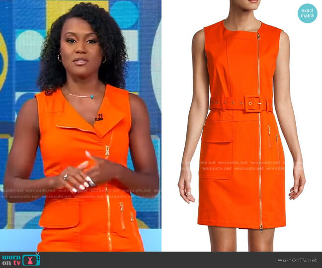 Moto Zip Front Mini Dress by Toccin worn by Janai Norman  on Good Morning America