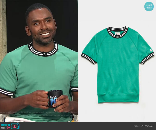 Tipped Short Sleeve Sweatshirt in Greenhouse by Todd Snyder worn by Justin Sylvester  on E! News