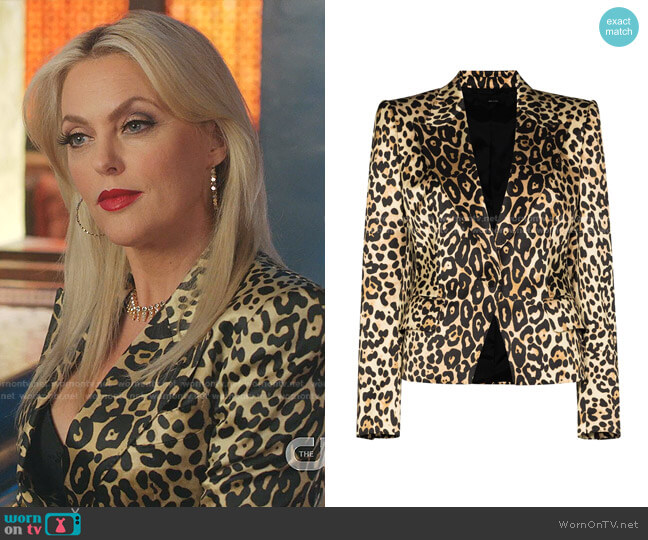 Leopard-Print Cotton-Blend Jacket by Tom Ford worn by Alexis Carrington (Elaine Hendrix) on Dynasty