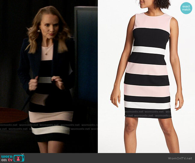 Tommy Hilfiger Colorblock Stripe Sleeveless Sheath Dress worn by Miss Jenn (Kate Reinders) on High School Musical The Musical The Series