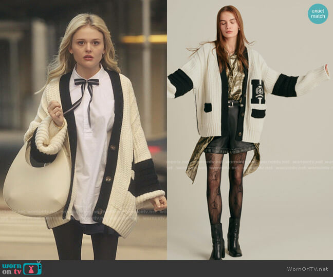 Color-block Letterman Cardigan by Tommy Hilfiger worn by Audrey Hope (Emily Alyn Lind) on Gossip Girl