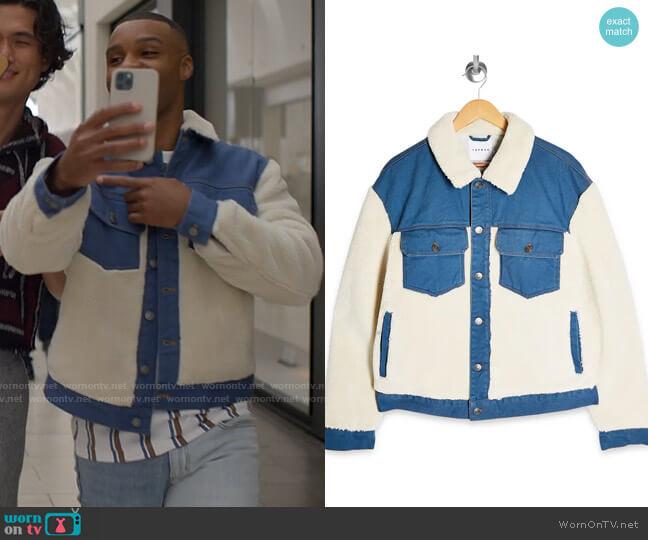 Topman Cut & Sew Fleece & Denim Jacket worn by James (Dyllon Burnside) on American Horror Stories