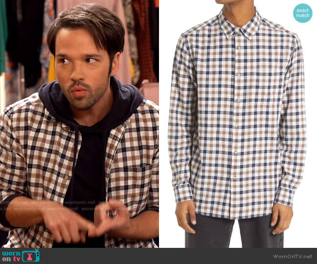 Topman Slim Fit Gingham Check Button-Up Shirt worn by Freddie Benson (Nathan Kress) on iCarly