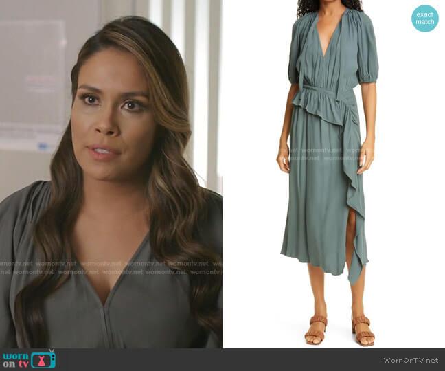 Leah Midi Dress by Ulla Johnson worn by Cristal Jennings (Daniella Alonso) on Dynasty
