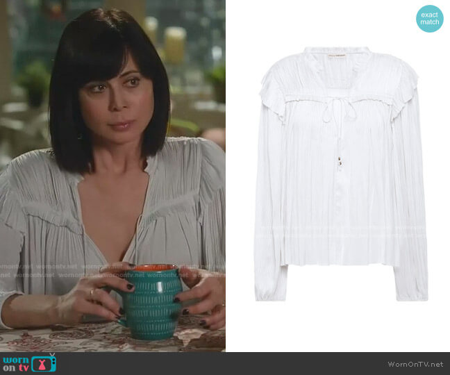 Plisse Satin Blouse by Ulla Johnson worn by Cassandra Nightingale (Catherine Bell) on Good Witch