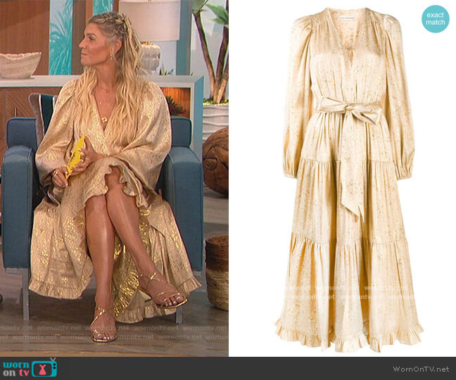 Tiered Belted Midi Dress by Ulla Johnson worn by Amanda Kloots  on The Talk