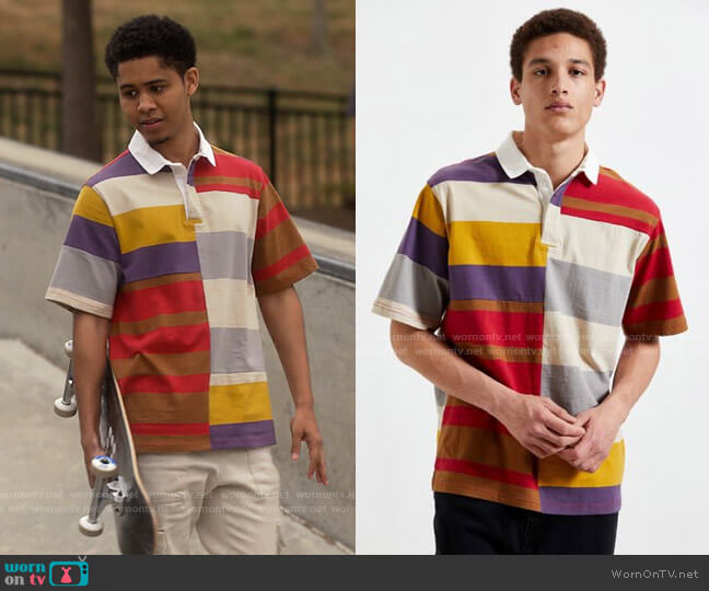 Urban Outfitters Spliced Rugby Shirt worn by Chad (Rhenzy Feliz) on American Horror Stories 1Savetumblr +Insta +