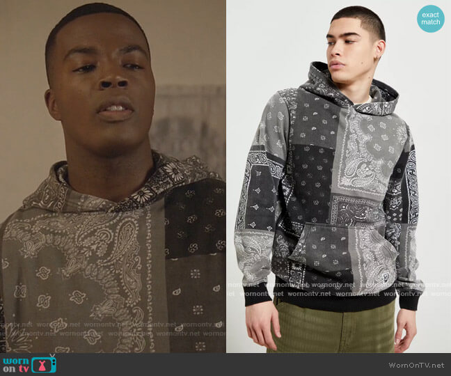 Washed Bandana Hoodie Sweatshirt by BDG at Urban Outfitters worn by Daniel Ezra on All American