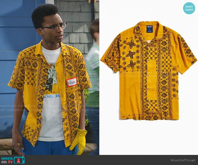 Without Walls Global Pattern Short Sleeve Button-Down Shirt by Urban Outfitters worn by Noah Lambert (Israel Johnson) on Bunkd