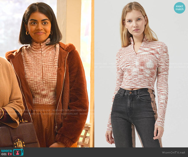 Ty Chenile Half Zip Top by Urban Outfitters worn by Aneesa (Megan Suri) on Never Have I Ever