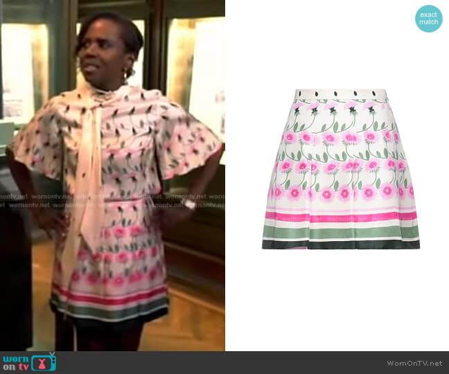 Floral Mini Skirt by Valentino worn by Deborah Roberts  on Good Morning America