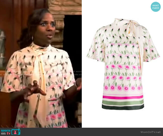 Tie-Neck Floral Blouse by Valentino worn by Deborah Roberts  on Good Morning America