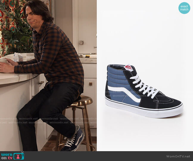 Vans Navy White Sk8-hi Sneakers worn by Spencer Shay (Jerry Trainor) on iCarly